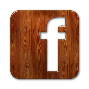 Facebook icon in wood. Find us on Facebook: https://www.facebook.com/hookopus288